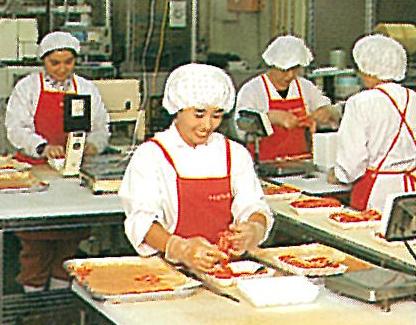 安堂商店のスライスセンター。山口中央生協(現・コープ山口)用の牛肉パックを製造。